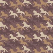 Lewis & Irene Farley Mount - 5582 - Galloping Horses on Brown - A229.3 - Cotton Fabric